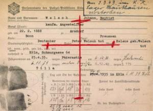 Erkennungskarte Polizei Köln für Joh. Baptist Welsch